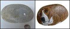 Painting Rock & Stone Animals, Nativity Sets & More: Before & After Painted Rocks: Dogs Painted Rocks Craft, Hand Painted Rocks, Nativity Sets, Rock Crafts, Stone, Rock Painting, Art Supplies, Creative, Dogs