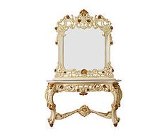 Consolle in mogano e marmo con specchio Felicia - 144x83x53 cm