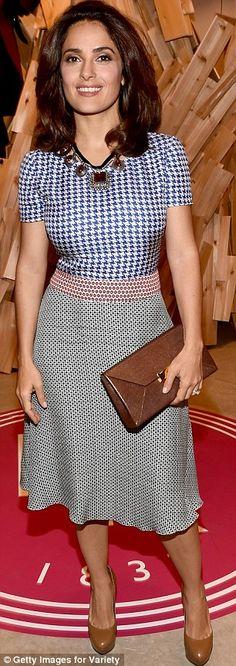 Double trouble: Salma Hayek, 48, donned a patterned number at the Variey Studio (left) bef...