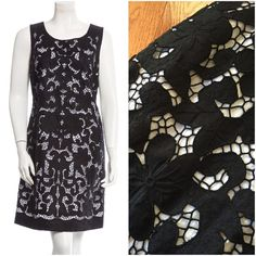 """Kate Spade black & white lace overlay dress Beautiful and versatile dress from Kate Spade, size 10. This dress features a lovely large scale black lace over a white overlay. Wide black hem with scalloped detail. Scoop neckline with back zip closure. In excellent condition! Lying flat I measured the waist at 17.5"""" across. 38.5"""" long. The shell is 100% linen an the lining is 100% cotton. kate spade Dresses"""