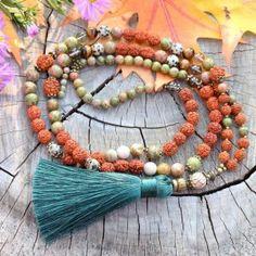 ~(POD)VĚDOMÍ~ Modlitební korále mála rudraksha s unakitem, 108 korálků Tassel Necklace, Tassels, Bracelets, Jewelry, Suitcase, Hinduism, Buddhism, Jewlery, Jewerly