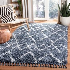Safavieh Pro Luxe Shag Verene Solid Rug x - Blue/Cream), Blue/Ivory Outdoor Nursery, Solid Rugs, Rug Size Guide, Nursery Rugs, Online Home Decor Stores, Club Chairs, Living Room Bedroom, Furniture Decor, Colorful Rugs