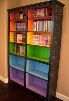 Paint colored shelves to signify different reading levels. | Paint colored shelves to signify different reading levels.