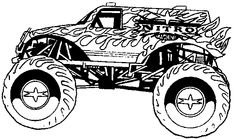 Monster Truck Coloring Pages, letscoloringpages.com, Fire monster truck
