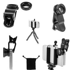 Amazon.com: iPhone Camera Lens Kit by CamRah, 3 Universal Lenses, Fisheye, Wide Angle and Macro, 2 Lens Clips, Octopus Tripod, storage bag, and photo tips.: Cell Phones & Accessories