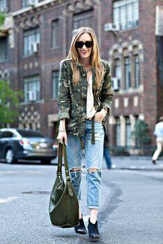 // camo jacket + cream blouse + boyfriend jeans + black booties //