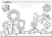 Kids trace the letters and color the flowers in this free spring coloring page.