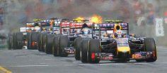 Australian Daniel Ricciardo in a Red Bull at the start line.