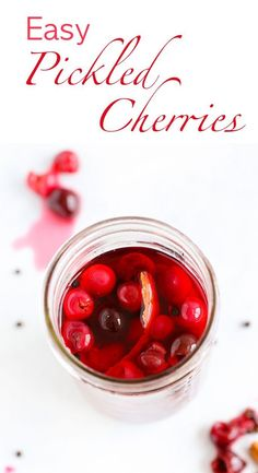 Pickled Cherries are an easy way to preserve tart or sweet cherries for the months to come! They make a zippy addition to any salad chicken pork duck or beef dish! And as an easy delicious topping for tacos! Winter Desserts, Desserts For A Crowd, Delicious Desserts, Hot Fudge Cake, Hot Chocolate Fudge, Fudge Recipes, Gourmet Recipes, Dessert Recipes, Easy Recipes
