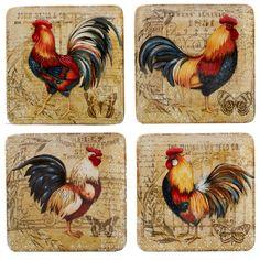 Dinner Plate Sets, Dinner Plates, Dinner Table, Shutter Wall Decor, Rooster Art, Rooster Plates, Rooster Painting, Rooster Kitchen, Rooster Decor