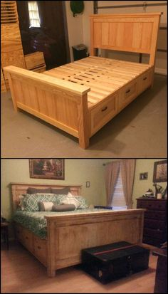 Farmhouse Bed with Drawers diyprojects. Need a good bed with storage? - Farmhouse Bed with Drawers diyprojects.ideas… Need a good bed with storage? Furniture Projects, Furniture Plans, Pallet Furniture, Bedroom Furniture, Bedroom Decor, Furniture Online, Furniture Stores, Cheap Furniture, Furniture Mattress