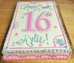 Sweet 16 birthday sheet cake by Mueller's Bakery!