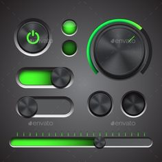 Set Of The Detailed UI Elements by tassel78 Set of the detailed UI elements with knob, switches and slider in metallic style. Good for your websites, blogs or applications. V