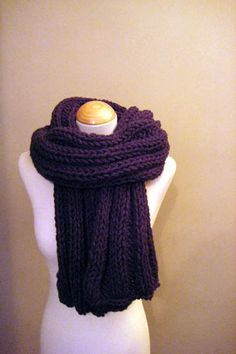 Hand Knitted Luxurious Long Scarf in a fantastic Blackberry / Purple colour on Etsy, £49.99