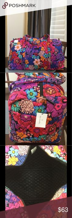 """NWT VERA BRADLEY LARGE DUFFEL Brand new with tags Vera Bradley large duffel  Floral fiesta pattern  15"""" strap drop Handy outside end pocket Folds flat for easy storing Dimensions 22"""" W x 11½"""" H x 11½"""" D - 15"""" strap drop Duffle Smoke/pet free home Vera Bradley Bags Backpacks"""