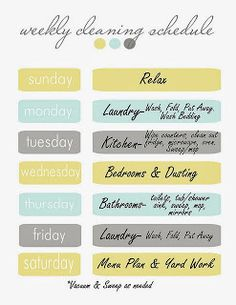 5 Printable Cleaning Schedules