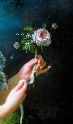 """clara–lux:  """" VIGÉE-LE BRUN, Élisabeth (1755–1842)  Marie-Antoinette dit """"à la Rose"""", detail  1783  Oil on canvas, 130 x 87 cm  Château de Versailles  Ed. Orig. Lic. Ed.  """""""
