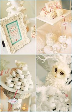 I'm helping Delaney host a white-themed Christmas party. This has some pretty ideas. Winter Wonderland Dessert Bar Inspiration 2 White. <3 that little owl. White powdered doughnuts.