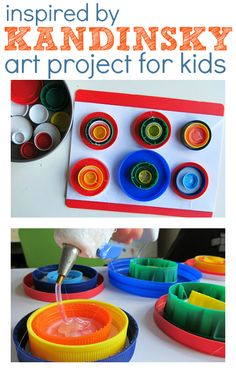 Kandinsky art lesson - save up your plastic tops and introduce your kids to the hot glue gun! Seriously fun way to introduce your kids to Kandinsky!