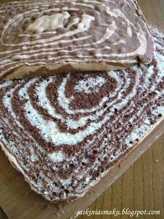 Ciasto zebra z jabłkami i kremem waniliowym