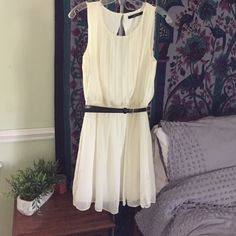 Ticket Window Dress Worn once! Has black belt that comes with it and belt loops on the dress ModCloth Dresses Mini