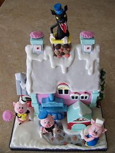 Little Pig Bakery #cake. This looks just like one of my #Disney #Christmas Village houses.