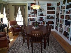 Dining room library similar to ours (without all the toys on the floor)