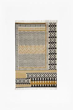 Ochre Block Printed Rug | Textiles | French Connection