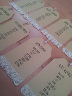 Seating plan tags