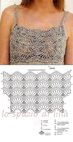 Celia  scrive:  hola tendrias un patron de canesu de crochet para hacer un solero con tela abajo/ gracias.  Schemi trovati sul web.  Fo...