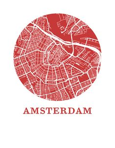 Amsterdam Map Print City Map Poster van OMaps op Etsy