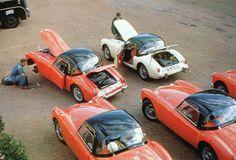 5-car team of MGA 1500s on the 1956 Alpine Rally