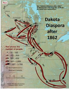 "This map illustrates the scattering of the Dakota people in the aftermath of the US-Dakota War of 1862. It's a testament to their strength that their culture has somehow survived all efforts to ""exterminate"" it."