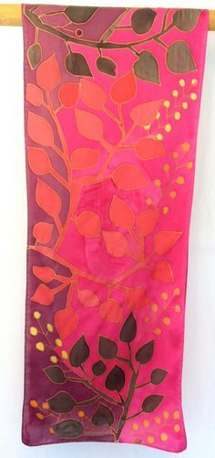 Hand Painted Silk Scarf Red Japanese Floral by SilkScarvesTakuyo