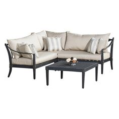 Gather guests for cocktails on your patio or enjoy an afternoon around the pool with this classic indoor/outdoor sectional set. This stylish collection featu...