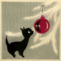 16 Ideas Funny Christmas Illustration Vintage Cards For 2019 Cat Christmas Tree, Retro Christmas, Vintage Christmas Cards, Christmas Images, Vintage Holiday, Christmas Greeting Cards, Christmas Love, Christmas Greetings, Christmas Kitten