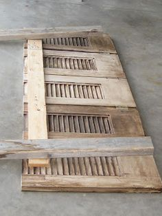 Restored Treasures Too: A gorgeous distressed headboard made from old shutters!