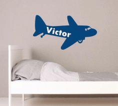 Muursticker vliegtuig met naam | muurstickers voertuigen