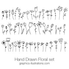 Hand Drawn Floral Doodle Clip Art Set, Hand Drawn Retro Design Vectors Hand Drawn Floral Doodle Clip Art Set, Hand Drawn Retro Design Vector Elements, Commercial Use - Graphics-Illustrations. Hand Doodles, Flower Doodles, Simple Doodles, Doodle Flowers, Doodles How To, Things To Doodle, How To Doodle, Easy Doodle Art, Pastel Flowers