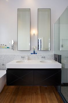 Von Sturmer - Striking vanity with marble accents Orchard Lane, Old Orchard, Bathroom Lighting, Marble, Vanity, Mirror, Furniture, Design, Home Decor
