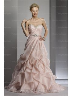 A-Line Sweetheart Organza Chapel Train Wedding Dress    I  love the light pink :-)