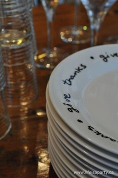 DIY writing on plates tutorial http://www.lifeisaparty.ca/2012/crate-and-barrel-inspired-give-thanks-plates/
