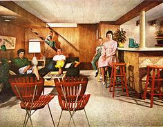 Living for Young Homemakers March 1956 swedish home inspiration Hanging downstairs in the rumpus room, Better Homes and Gardens 1963 truck f. Retro Room, Vintage Room, Vintage Decor, Retro Vintage, Vintage Homes, Vintage Furniture, 1960s Decor, Retro Home Decor, House Design Photos