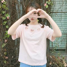 23e6e25f012a43 Mori Clothing T-Shirt on Mori Girl の森ガール.Japanese Hearts Hollow Out