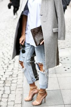 light grey coat, white shirt, Louis Vuitton clutch, ripped jeans & nude sandals #style #fashion #blogger