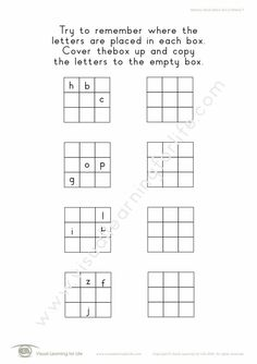 """In the """"Memory Block Letters 3x3 (3 Letters)"""" worksheets, the student must remember where the letters are placed in each box, so that they can copy them to the open box from memory. Learning For Life, Visual Learning, Preparing A Business Plan, Business Plan Presentation, College Admission Essay, Informative Essay, Letter Worksheets, Visual Memory, Custom Writing"""