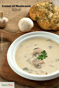 Cream of Mushroom Soup, with an Italian twist - so much better than the store bought one! World's Best Food, Good Food, Fun Food, Slow Cooker Recipes, Soup Recipes, Vegetarian Recipes, Mushroom Soup, Mushroom Recipes, Creamed Mushrooms