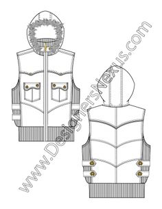 Hooded Vest with Fur Trim V4 Fashion Technical Drawing