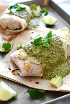 Baked Chicken and Avocado Burritos with a Creamy Roasted Poblano Sauce / Bev Cooks