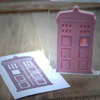 73 Doctor Who Crafts!!! ... this is a TARDIS stamp, but i'm thinking a TARDIS printmaking project (and maybe a Dalek one, too) is in my future...